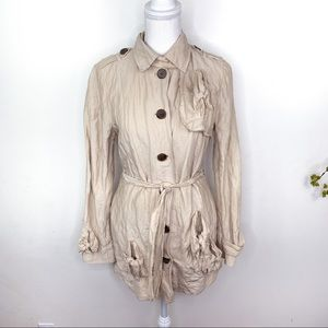 Gryphon Knot Trench Tan Distressed Jacket Medium